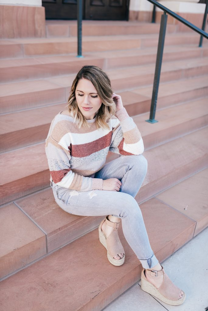 striped sweater & gray jeans // www.thefabblog.com