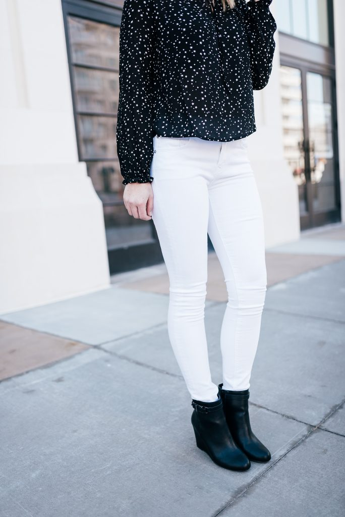 white jeans and black booties // www.thefabblog.com