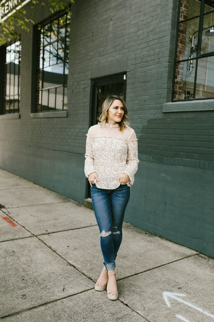 casual spring outfit with blush blouse // www.thefabblog.com