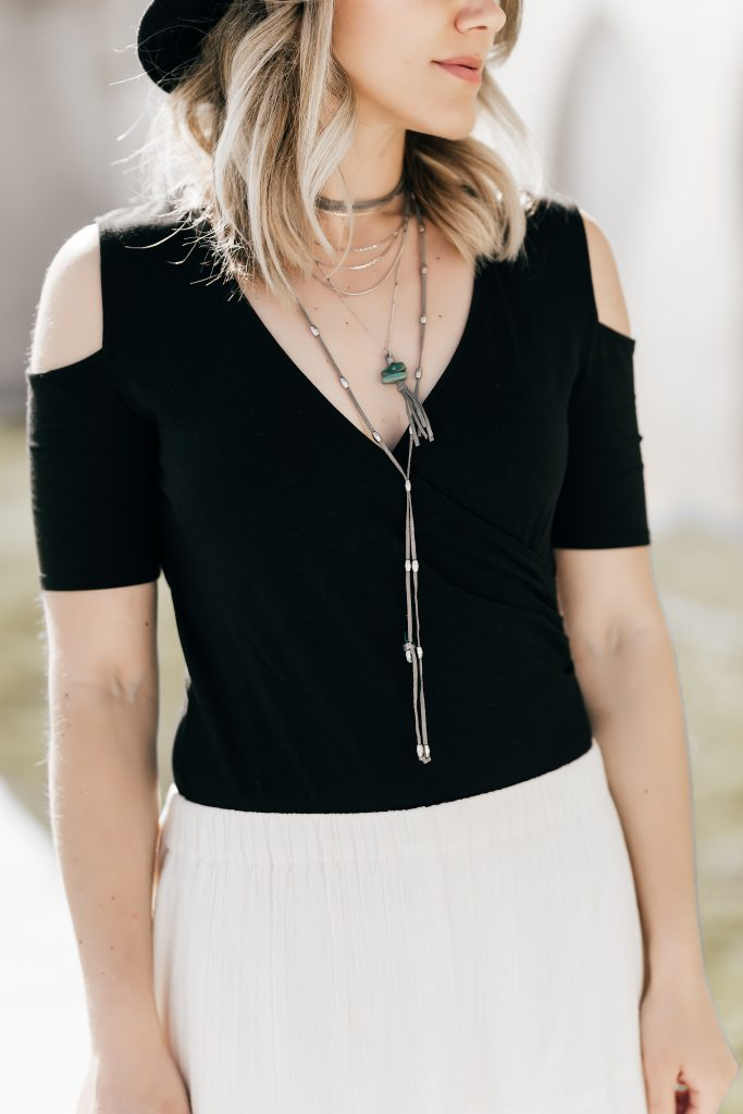 black bodysuit with Free People layered necklace // www.thefabblog.com